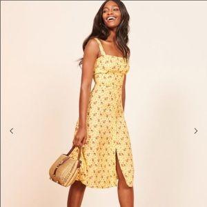 Reformation Yellow Persimmon Midi Dress